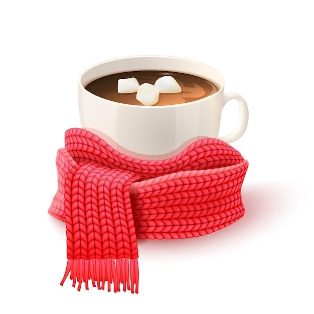 Coupe chocolat avec écharpe tricotée Vecteur gratuit