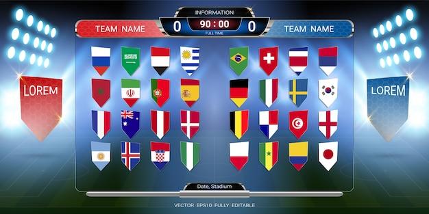 Coupe du football 2018 ensemble de drapeau national avec diffusion tableau de bord Vecteur Premium
