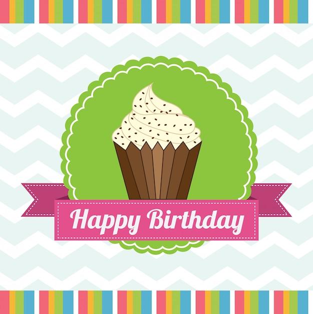 Coupe du gâteau d'anniversaire Vecteur Premium