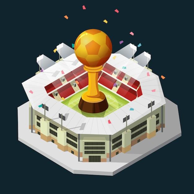 Coupe du trophée football doré et champ isométrique nuit de fond Vecteur Premium
