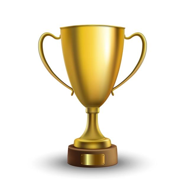 Coupe du vainqueur isolé. trophée d'or sur fond blanc. illustration vectorielle Vecteur Premium