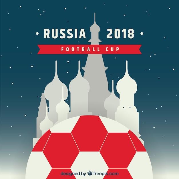 Coupe de football 2018 avec kremlin Vecteur gratuit