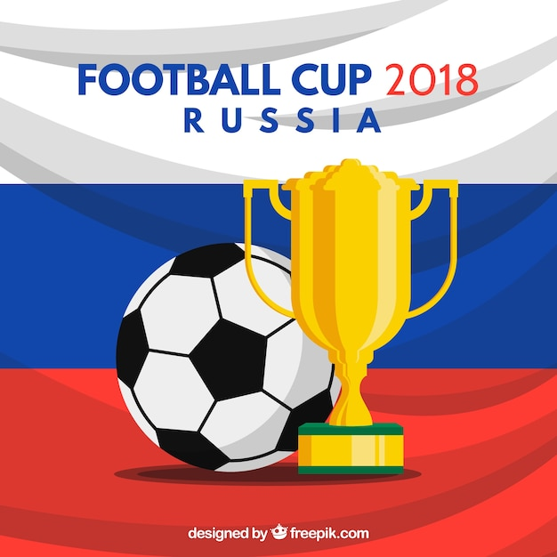 Coupe de football 2018 avec trophée Vecteur gratuit