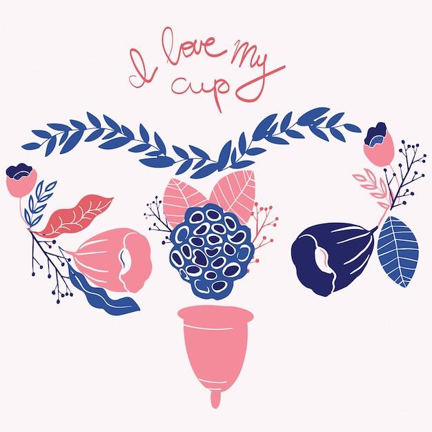 Coupe menstruelle des femmes avec des fleurs dans le style dessiné à la main. Vecteur Premium
