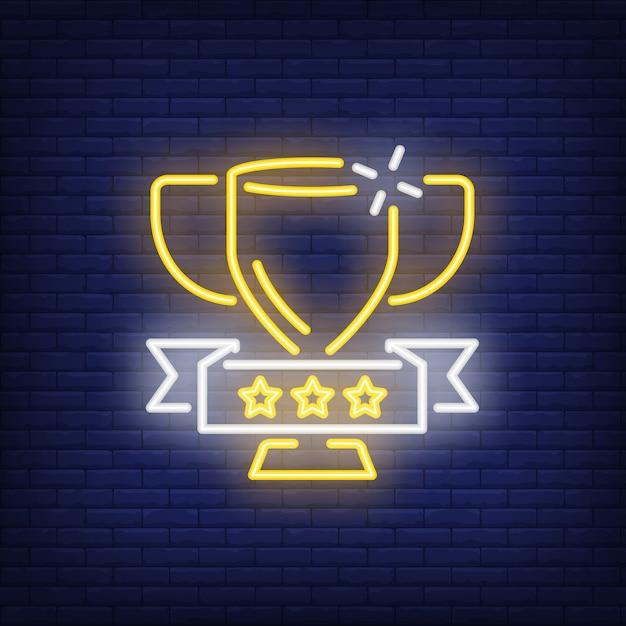Coupe d'or sur fond de brique. illustration de style néon. victoire, trophée, gagnant. Vecteur gratuit