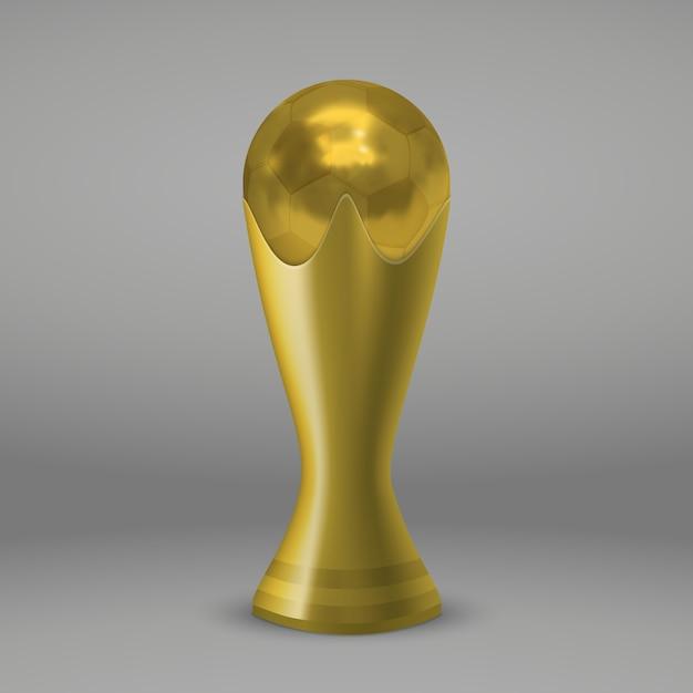 Coupe d'or de football realictic isolé Vecteur Premium
