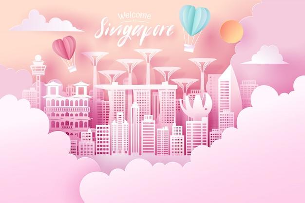 Coupe De Papier De Singapour Vecteur Premium