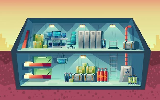 Coupe transversale de vecteur de bunker secret, intérieur du laboratoire scientifique pour la création. Vecteur gratuit