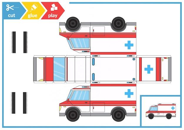 Couper et coller une ambulance Vecteur Premium