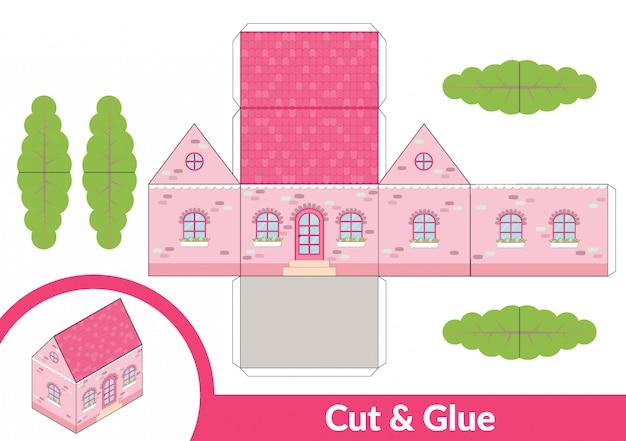 Couper et coller une maison rose Vecteur Premium