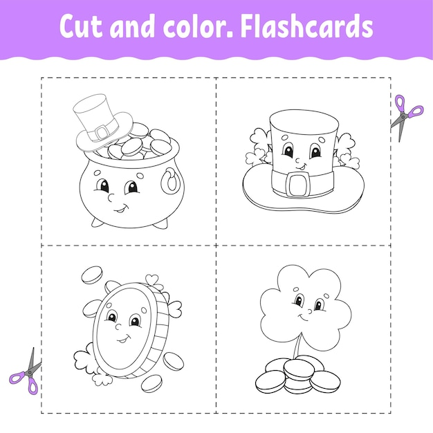 Couper Et Colorier. Jeu De Cartes Flash. Livre De Coloriage Pour Les Enfants. Vecteur Premium