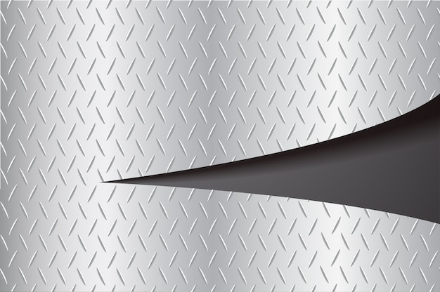 Couper la plaque en métal déchirant et espace fond noir Vecteur Premium