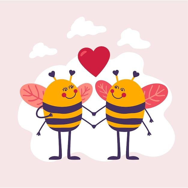 Couple D'abeilles Dessinés à La Main Pour La Saint-valentin Vecteur gratuit