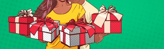 Couple Afro-américain Méconnaissable Tenant Des Boîtes Présentes Bannière Horizontal Bande Dessinée Pin Up Backgrou Vecteur Premium