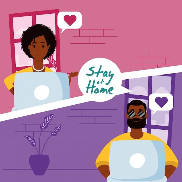 Couple Afro Utilisant Des Ordinateurs Portables Pour Communiquer Et Rester à La Maison Vecteur Premium