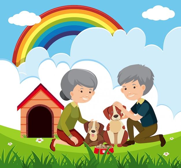 Couple âgé et chiens Vecteur Premium
