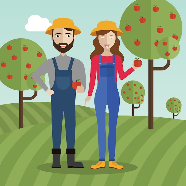Couple d'agriculteurs au champ ramassant des pommes Vecteur Premium