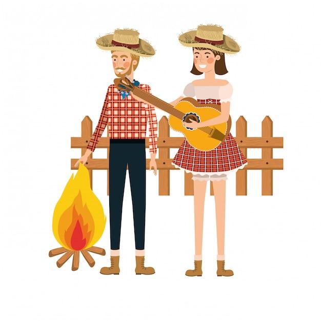 Couple d'agriculteurs avec instrument de musique Vecteur gratuit