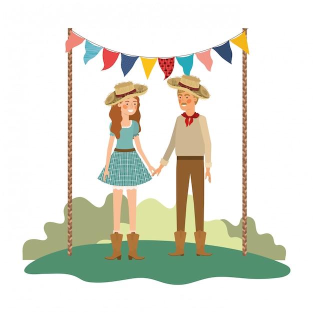 Couple d'agriculteurs parlant avec chapeau de paille dans le paysage Vecteur Premium