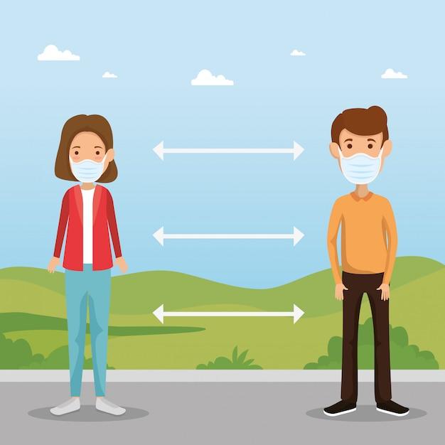 Couple à L'aide De Masques Avec Distanciation Sociale Pour Covid19 Vecteur gratuit