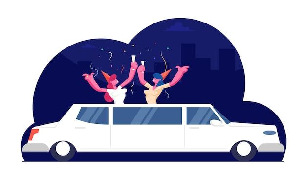 Couple D'amis De Filles Heureuses Portant Des Chapeaux Drôles Avec Des Verres à Champagne Dans Les Mains Stick Out Of White Limousine Luxueuse Avec Des Confettis Volant Autour, Cartoon Flat Illustration Vecteur Premium
