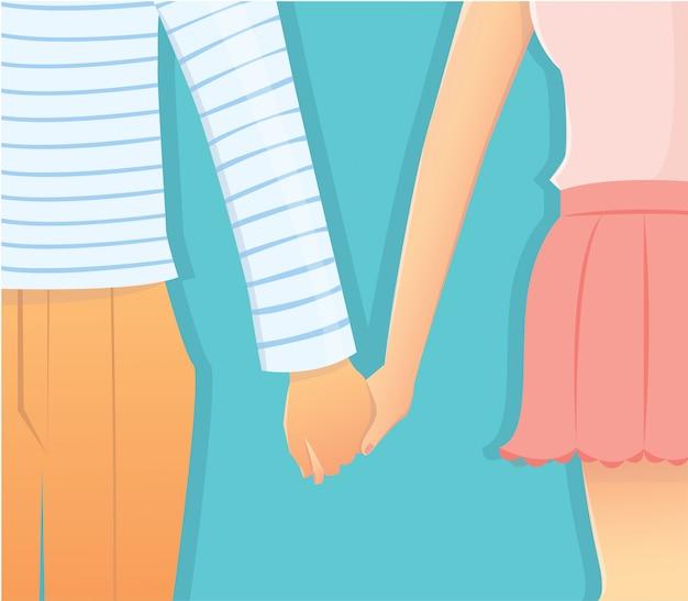 Couple, amour, relation, tenant mains Vecteur Premium