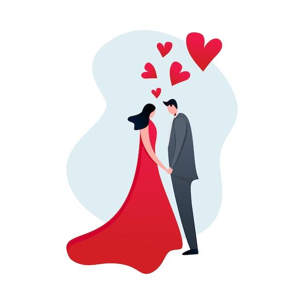 Couple amoureux au design plat moderne dessin animé avec des coeurs Vecteur Premium