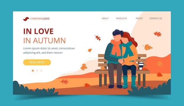 Couple d'amoureux sur le banc en automne. modèle de page de destination. Vecteur Premium
