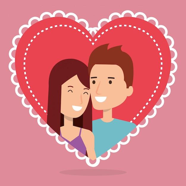 Couple D'amoureux Dans Les Personnages D'avatars De Coeur Vecteur gratuit