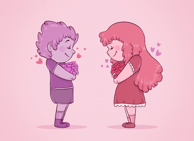 Couple, Amoureux, Fermé, Yeux, Tenue, Cœurs, Bras Vecteur gratuit