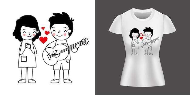 Couple Amoureux De Garçon Jouant De La Guitare Imprimé Sur Chemise. Vecteur Premium