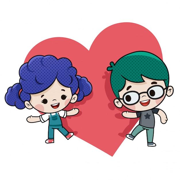 Couple amoureux le jour de la saint valentin Vecteur Premium