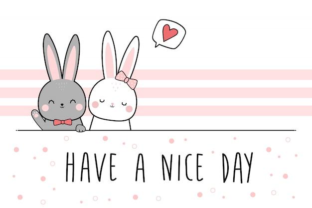 Couple d'amoureux lapin mignon lapin salutation dessin animé doodle wallpaper Vecteur Premium