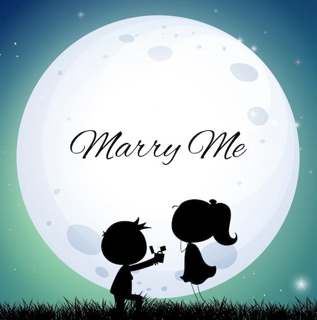 Couple d'amoureux proposant un mariage la nuit de la pleine lune Vecteur gratuit