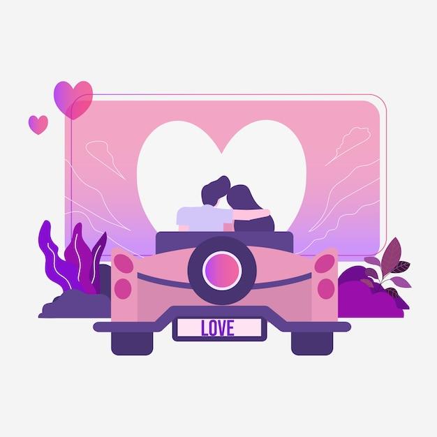 Couple amoureux rencontres en voiture Vecteur Premium