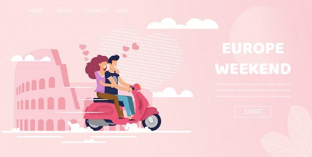 Couple amoureux à rome italie europe week-end voyage Vecteur Premium