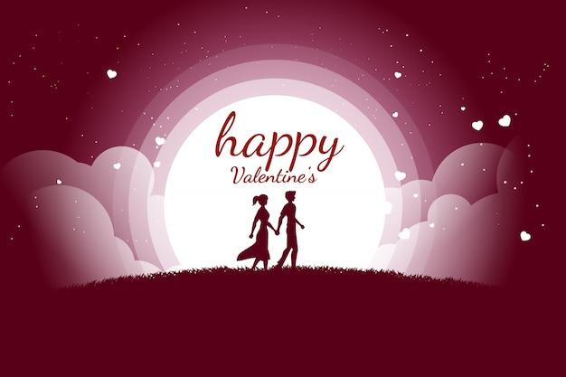 Couple d'amoureux tenant la main qui marche avec fond coeur battant Vecteur Premium