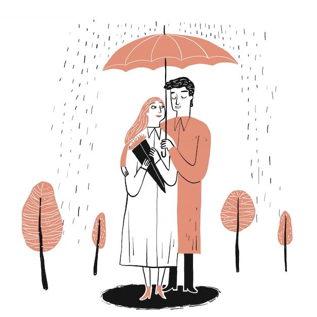 Couple amoureux Vecteur Premium