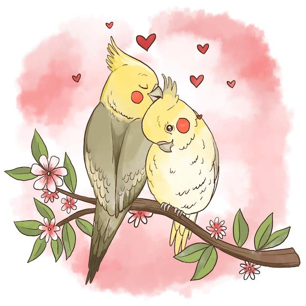 Couple D'animaux Aquarelle Saint Valentin Vecteur gratuit