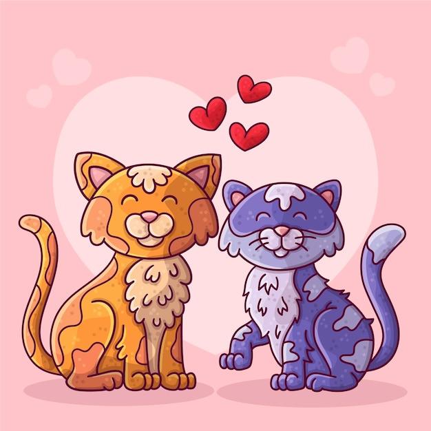 Couple D'animaux Dessinés à La Main Pour La Saint-valentin Vecteur gratuit