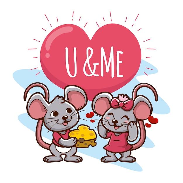 Couple D'animaux Mignon Saint Valentin Vecteur gratuit