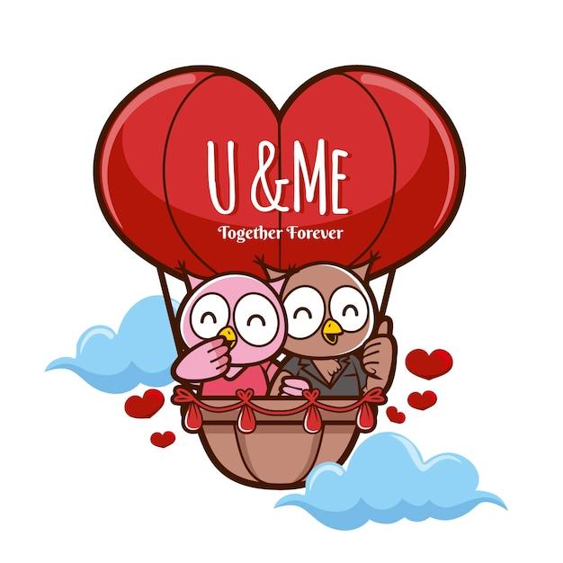 Couple D'animaux Saint Valentin Avec Hiboux Vecteur gratuit