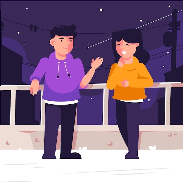 Couple, Apprécier, Nuit, Toit, Staycation, Concept Vecteur gratuit