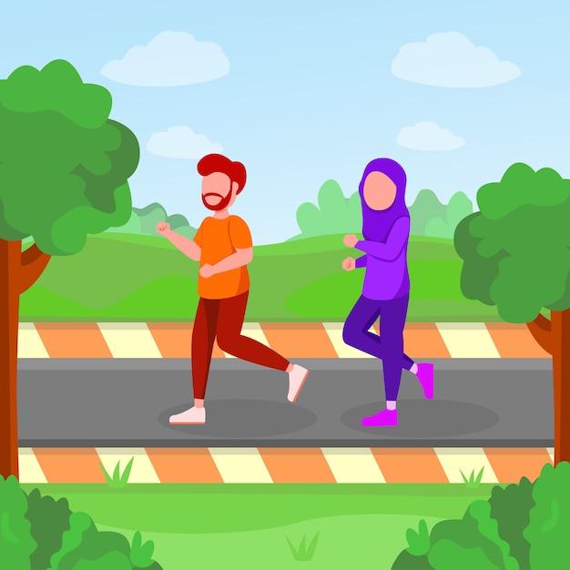 Couple arabe jogging dans le parc cartoon illustration Vecteur Premium