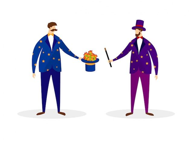 Couple d'artistes magiciens effectuant des tours de magie Vecteur Premium