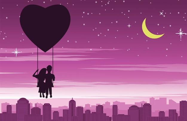 Couple assis sur une balançoire qui flotte au cœur en forme de ballon au-dessus de la ville Vecteur Premium