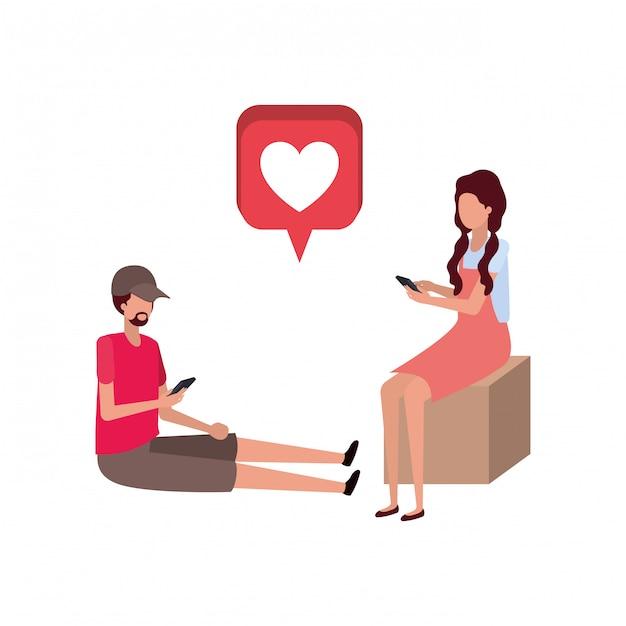 Couple assis avec coeurs personnage avatar Vecteur Premium