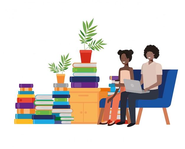 Couple assis dans le personnage d'avatar de bureau de travail Vecteur Premium
