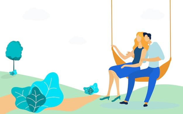 Couple, assis, hamac, plat, illustration vectorielle Vecteur Premium