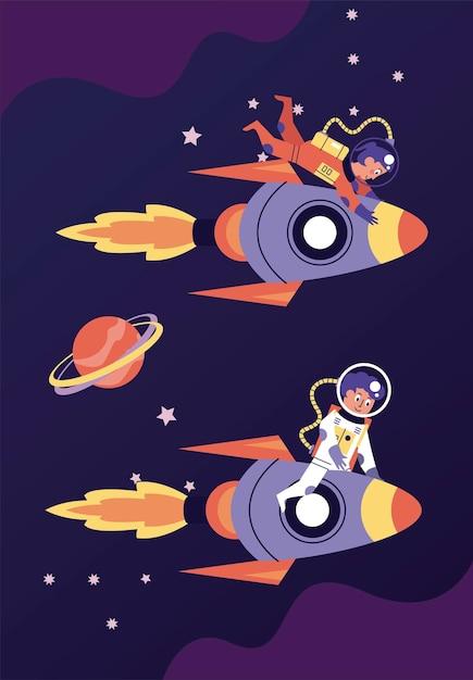 Couple D'astronautes Dans L'illustration De La Scène Spatiale Des Fusées Vecteur Premium